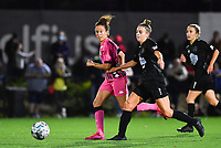 midfielder Ines Dhaou of Sporting Charleroi pictured with Woluwe's Selina Gijsbrechts (11) during a female soccer game between Sporting Charleroi and FC Femina White Star Woluwe on the second matchday of the 2020 - 2021 season of Belgian Scooore Women s SuperLeague , friday 4 th of September 2020  in Marcinelle , Belgium . PHOTO SPORTPIX.BE | SPP | DAVID CATRY