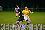 Classic FC's Eoin Colgan and St Bernard's FC's Mike Hanafin.