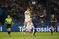 PARIS, FRANCE - JUNE 28: Alex Morgan #13, Élise Bussaglia #15 during a 2019 FIFA Women's World Cup France quarter-final match between France and the United States at Parc des Princes on June 28, 2019 in Paris, France.