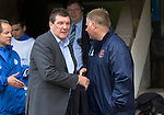 St Johnstone v Blackpool...25.07.15  McDiarmid Park, Perth.. Pre-Season Friendly<br /> Tommy Wright shakes hands with Neil McDonald<br /> Picture by Graeme Hart.<br /> Copyright Perthshire Picture Agency<br /> Tel: 01738 623350  Mobile: 07990 594431