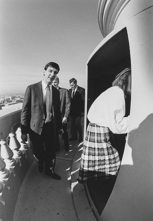 Rep. Craig L. Thomas, R-Wyo., and staff climbs to top of the Capitol Hill Dome. Dan Naatz (Legislative Assistant) about to descend the dome, while Lori Laudien already half way through the doorway on Feb. 1, 1990. (Photo by Maureen Keating/CQ Roll Call via Getty Images)