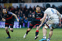 Gavin Henson of Dragons is challenged by Marco Tauleigne of Bordeaux Begles during the European Challenge Cup match between Dragons and Bordeaux Begles at Rodney Parade, Newport, Wales, UK. 20 January 2018