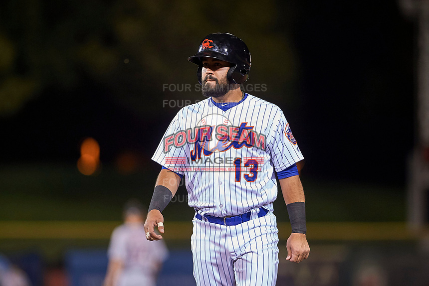 Scottsdale Scorpions second baseman Luis Guillorme (13), of the New York Mets organization, during an Arizona Fall League game against the Mesa Solar Sox on October 23, 2017 at Scottsdale Stadium in Scottsdale, Arizona. The Solar Sox defeated the Scorpions 5-2. (Zachary Lucy/Four Seam Images)