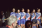 FDJ Nouvelle-Aquitaine Futuroscope at the Team presentation of La Fleche Wallonne Femmes 2018 running 118.5km from Huy to Huy, Belgium. 17/04/2018.<br /> Picture: ASO/Thomas Maheux | Cyclefile.<br /> <br /> All photos usage must carry mandatory copyright credit (&copy; Cyclefile | ASO/Thomas Maheux)