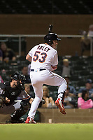 Salt River Rafters right fielder Luke Raley (53), of the Minnesota Twins organization, at bat in front of catcher Matt Winn (16) during an Arizona Fall League game against the Scottsdale Scorpions at Salt River Fields at Talking Stick on October 11, 2018 in Scottsdale, Arizona. Salt River defeated Scottsdale 7-6. (Zachary Lucy/Four Seam Images)