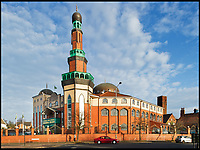BNPS.co.uk (01202 558833)<br /> Pic: HistoricEngland/BNPS<br /> <br /> The huge Ghamkol Shareef Mosque in Birmingham.<br /> <br /> A new book from Historic England reveals the spread of Mosque building across Britain.<br /> <br /> The book provide a fascinating insight into the diversity of Britain's 1,500 mosques.<br /> <br /> They range from humble house conversions where small groups gather to magnificent purpose-built complexes which can accommodate thousands of worshippers.<br /> <br /> Architect Shahed Saleem, who has designed a mosque in Hackney, east London, has produced the first comprehensive overview of Islamic architecture on these shores in his new book, The British Mosque.