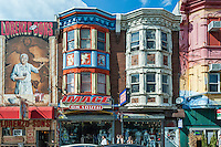 Colorful shop buildings located on South Street, the trendy area of Philadelphia. Pennsylvania