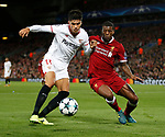 Joaquin Correa of Sevilla and Georgina Wijnaldum of Liverpool during the Champions League Group E match at the Anfield Stadium, Liverpool. Picture date 13th September 2017. Picture credit should read: Simon Bellis/Sportimage