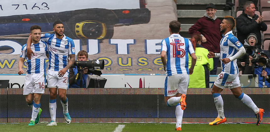 Huddersfield Town's Jack Payne celebrates scoring his sides second goal with teammate Nahki Wells<br /> <br /> Photographer Alex Dodd/CameraSport<br /> <br /> The EFL Sky Bet Championship - Huddersfield Town v Preston North End - Friday 14th April 2016 - The John Smith's Stadium - Huddersfield<br /> <br /> World Copyright &copy; 2017 CameraSport. All rights reserved. 43 Linden Ave. Countesthorpe. Leicester. England. LE8 5PG - Tel: +44 (0) 116 277 4147 - admin@camerasport.com - www.camerasport.com