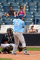 Daytona Cubs outfielder Bijan Rademacher (24) at bat in front of catcher Peter O'Brien (24) during a game against the Tampa Yankees  on April 13, 2014 at George M. Steinbrenner Field in Tampa, Florida.  Tampa defeated Daytona 7-3.  (Mike Janes/Four Seam Images)