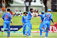 India's Ishan Porel celebrates the wicket of Australia's Max Bryant with his team mates during the ICC U-19 Cricket World Cup 2018 Finals between India v Australia, Bay Oval, Tauranga, Saturday 03rd February 2018. Copyright Photo: Raghavan Venugopal / © www.Photosport.nz 2018 © SWpix.com (t/a Photography Hub Ltd)