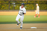 Chris Lanzilli (24) of the Wake Forest Demon Deacons rounds the bases after hitting a solo home run against the North Carolina State Wolfpack at David F. Couch Ballpark on April 18, 2019 in  Winston-Salem, North Carolina. The Demon Deacons defeated the Wolfpack 7-3. (Brian Westerholt/Four Seam Images)