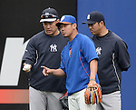 (L-R) Masahiro Tanaka (Yankees), Daisuke Matsuzaka (Mets), Hiroki Kuroda (Yankees),<br /> MAY 15, 2014 - MLB :<br /> Daisuke Matsuzaka of the New York Mets talks with Masahiro Tanaka and Hiroki Kuroda of the New York Yankees during practice before the Major League Baseball game at Citi Field in Flushing, New York, United States. (Photo by AFLO)