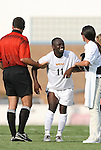 22 August 2008: VCU's Owusu Sekyere (GHA) (11) winces in pain while being helped to his feet by Referee Tony Crush (l) and a trainer (r). The Wake Forest University Demon Deacons defeated the Virginia Commonwealth University Rams 2-1 at Fetzer Field in Chapel Hill, North Carolina in an NCAA Division I Men's college soccer game.