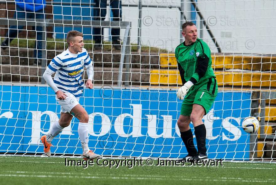 Forfar keeper Rab Douglas looks over to the assistant referee in the hope for an offside flag as Morton's Joseph McKee celebrates scoring their first goal.
