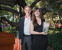 Erica J. Murray '01 Young Alumna Award for Early Achievement recipient Sara El-Amine '07. <br /> Occidental College alumni gathered for class reunions from June 23-25, 2017 as part of Alumni Reunion Weekend. Alums shared memories, honored the Seal Award winners and had fun dancing with Oswald!<br /> (Photo by Marc Campos, Occidental College Photographer)