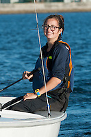 Salve's Stephanie Clancy,'17, captain, sails during practice in the Newport Harbor. during practice in the Newport Harbor.