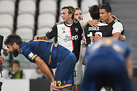 Paulo Dybala of Juventus celebrates after scoring a goal with cristiano Ronaldo and Federico Bernardeschi<br /> during the Serie A football match between Juventus FC and US Lecce at Juventus stadium in Turin  ( Italy ), June 26th, 2020. Play resumes behind closed doors following the outbreak of the coronavirus disease. Photo Andrea Staccioli / Insidefoto
