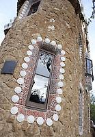 Warden house at the main gateway, Park Güell, Barcelona, Catalonia, Spain, 1900 - 1914, built by architect Antoní Gaudi (Reus 1852, Barcelona 1926). Picture by Manuel Cohen