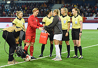 20181005 - LEUVEN , BELGIUM : Belgian Aline Zeler (L) and Switzerland's Lara Dickenmann (R)   pictured during the female soccer game between the Belgian Red Flames and Switzerland , the first leg in the semi finals play offs for qualification for the World Championship in France 2019, Friday 5 th october 2018 at OHL Stadion Den Dreef in Leuven , Belgium. PHOTO SPORTPIX.BE | DIRK VUYLSTEKE