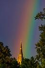 September 9, 2018; Rainbow over the Basilica of the Sacred Heart (Photo by Matt Cashore/University of Notre Dame)