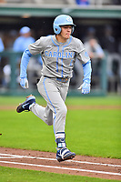 North Carolina Tar Heels second baseman Danny Serretti (1) runs to first base during a game against the Clemson Tigers at Doug Kingsmore Stadium on March 9, 2019 in Clemson, South Carolina. The Tigers defeated the Tar Heels 3-2 in game one of a double header. (Tony Farlow/Four Seam Images)
