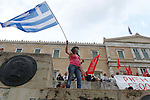 Protesters gather in front of the Athens parliament during a pro-government rally calling on Greece's European and International Monetary creditors to soften their stance in the cash-for-reforms talks.