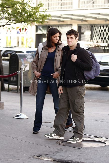 WWW.ACEPIXS.COM . . . . .  ....April 29, 2008. New York City.....Actors Catherine Zeta-Jones and Justin Bartha on the set of 'The Rebound' in New York City.......Please byline: AJ Sokalner - ACEPIXS.COM.... *** ***..Ace Pictures, Inc:  ..Philip Vaughan (646) 769 0430..e-mail: info@acepixs.com..web: http://www.acepixs.com