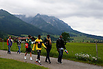 Cameroonian forward player Samuel Eto'o is leaving the training with friends during the FIFA World Cup 2014 CAMEROON'S training camp, in Walchsee on May 28 2014.<br /> &copy; Pierre Teyssot