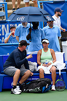 Washington, DC - August 3, 2019: Jessica Pegula (USA) talks to her coach between matches against Anna Kalinskaya (RUS) during the Citi Open WTA Singles Semi Finals at Rock Creek Tennis Center, in Washington D.C. (Photo by Philip Peters/Media Images International)