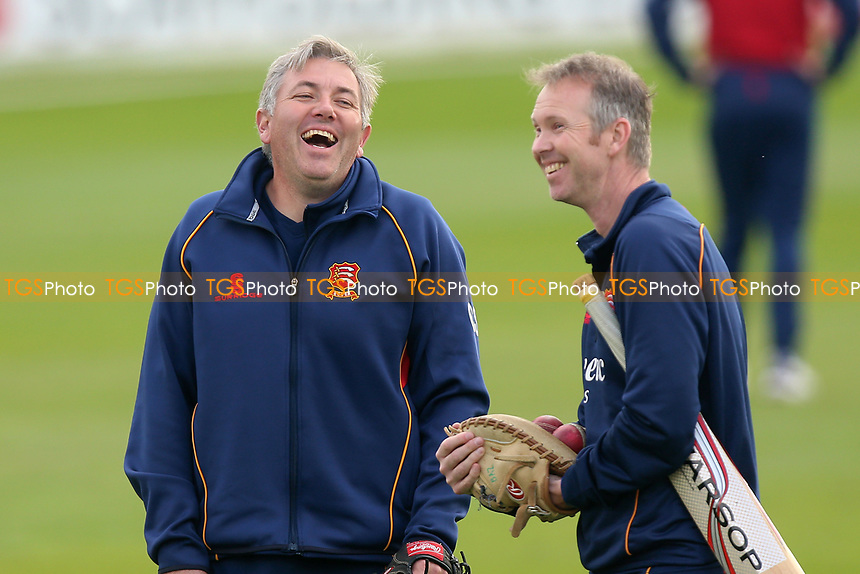 Essex ahead coach Chris Silverwood (L) shares a joke with Barry Hyam during Essex CCC vs Durham MCCU, English MCC University Match Cricket at The Cloudfm County Ground on 4th April 2017
