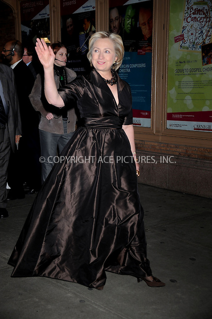 WWW.ACEPIXS.COM . . . . .....November 11, 2008. New York City.....Hillary Clinton attends Glamour Magazine's 2008 Women of the Year Awards held at Carnegie Hall on November 11, 2008 in New York City...  ....Please byline: Kristin Callahan - ACEPIXS.COM..... *** ***..Ace Pictures, Inc:  ..Philip Vaughan (646) 769 0430..e-mail: info@acepixs.com..web: http://www.acepixs.com