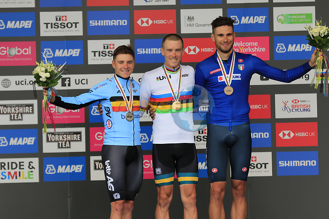 Rohan Dennis (AUS) wins gold with Remco Evenepoel (BEL) wins the silver and Filippo Ganna (ITA) wins the bronze at the end of the Men Elite Individual Time Trial of the UCI World Championships 2019 running 54km from Northallerton to Harrogate, England. 25th September 2019.<br /> Picture: Eoin Clarke | Cyclefile<br /> <br /> All photos usage must carry mandatory copyright credit (© Cyclefile | Eoin Clarke)