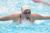 STANFORD, CA - FEBRUARY 15, 2014: Stanford Women's Swimming & Diving competes against the University of California - Berkeley at the Avery Aquatic Center on the campus of Stanford University.  Stanford topped Cal, 167-133.