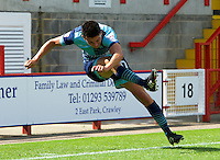 Luke O'Niel of Wycombe Wanderers during the Sky Bet League 2 match between Crawley Town and Wycombe Wanderers at Broadfield Stadium, Crawley, England on 6 August 2016. Photo by Alan  Stanford / PRiME Media Images.