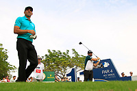 Sergio Garcia (ESP) and Andy Sullivan (ENG) on the 11th tee during the 3rd round of the DP World Tour Championship, Jumeirah Golf Estates, Dubai, United Arab Emirates. 17/11/2018<br /> Picture: Golffile | Fran Caffrey<br /> <br /> <br /> All photo usage must carry mandatory copyright credit (© Golffile | Fran Caffrey)