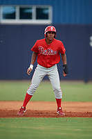 GCL Phillies East Marcus Lee Sang (9) leads off during a Gulf Coast League game against the GCL Yankees East on July 31, 2019 at Yankees Minor League Complex in Tampa, Florida.  GCL Phillies East defeated the GCL Yankees East 4-3 in the second game of a doubleheader.  (Mike Janes/Four Seam Images)