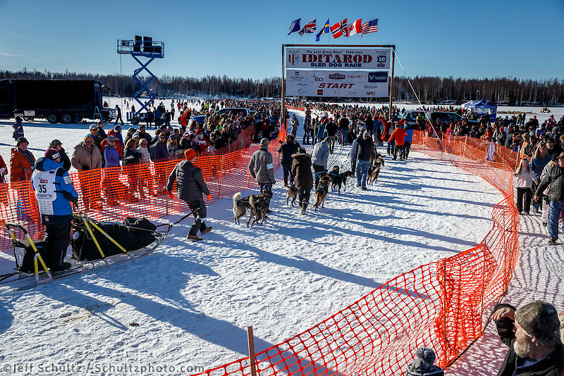 Dag Torulf Olsen lines up to leave the start line during the Re-Start of the 2016 Iditarod in Willow, Alaska.  March 06, 2016