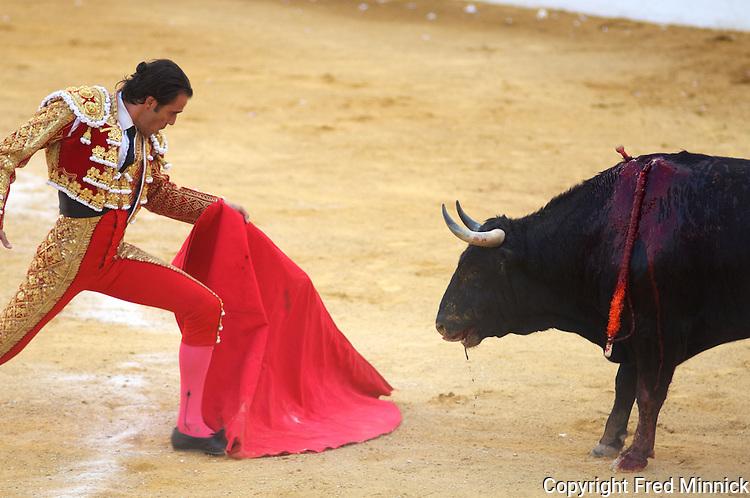 A bull fight in Alcazar de San Juan, Ciudid Real, Spain.