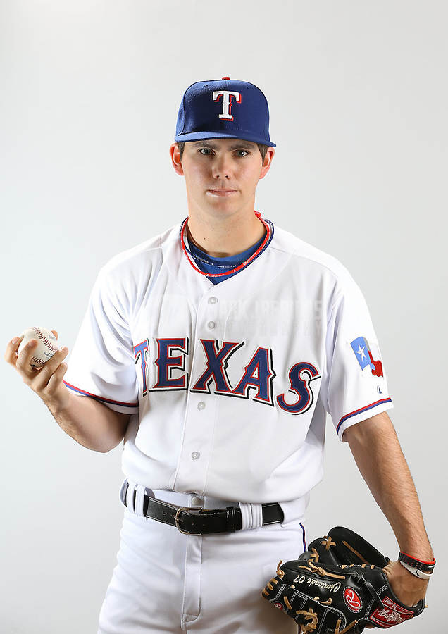 Feb. 20, 2013; Surprise, AZ, USA: Texas Rangers pitcher Cody Buckel poses for a portrait during photo day at Surprise Stadium. Mandatory Credit: Mark J. Rebilas-