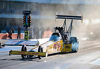 Oct 18, 2019; Ennis, TX, USA; NHRA top fuel driver Richie Crampton during qualifying for the Fall Nationals at the Texas Motorplex. Mandatory Credit: Mark J. Rebilas-USA TODAY Sports