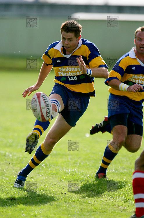 John Penberthy kicking into space. Counties Manukau Premier Club Rugby, Patumahoe vs Karaka played at Patumahoe on Saturday 22nd April 2006. Karaka won 19 - 6.