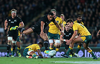 Ngani Laumape chases the ball during the Bledisloe Cup and Rugby Championship rugby match between the New Zealand All Blacks and Australia Wallabies at Eden Park in Auckland, New Zealand on Saturday, 25 August 2018. Photo: Simon Watts / lintottphoto.co.nz