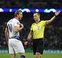 Tottenham Hotspur's Harry Kane has a disagreement with referee Ivan Kruzliak<br /> <br /> Photographer Rob Newell/CameraSport<br /> <br /> UEFA Champions League -Group B - Tottenham Hotspur v PSV Eindhoven - Tuesday 6th November 2018 - Wembley Stadium - London<br />  <br /> World Copyright © 2018 CameraSport. All rights reserved. 43 Linden Ave. Countesthorpe. Leicester. England. LE8 5PG - Tel: +44 (0) 116 277 4147 - admin@camerasport.com - www.camerasport.com