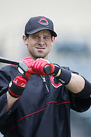 Aaron Boone of the Cincinnati Reds before a 2002 MLB season game against the Los Angeles Angels at Angel Stadium, in Anaheim, California. (Larry Goren/Four Seam Images)