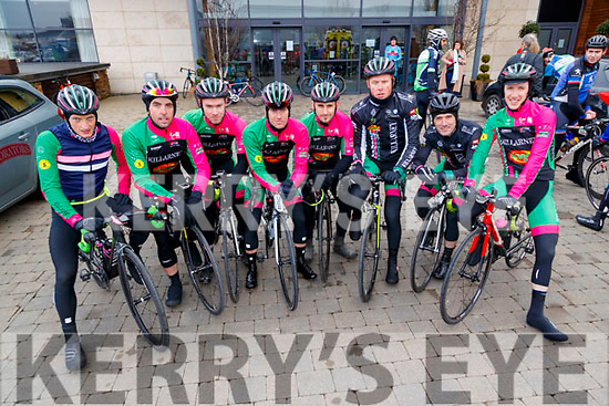 Conor Kissane, Jamie O'Donoghue, Daragh McCarthy, Richard Maise, James O'Sullivan, John Brosnan, Patrick Clifford and Marcus Treacy, Killarney Cycling Club members, who took part in the Lacey Cup Cycle on Sunday morning last.