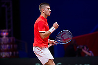 Le joueur de tennis Jérémy Chardy opposé au joueur Croate Borna Coric lors de la  Finale de la Coupe Davis France vs Croatie, au Stade Pierre Mauroy à Villeneuve d'Ascq . Match gagné par l'équipe de Croatie.<br /> France, Villeneuve d'Ascq , 23 novembre 2018.<br /> French tennis player Jérémy Chardy vs Croatian tennis player Borna Coric, during the final of the Davis Cup, at the Pierre Mauroy stadium in Villeneuve d'Ascq .<br /> Match won by Croatian team.<br /> France, Villeneuve d'Ascq , 23 November 2018