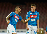 Piotr Zielinski celebrates withChristian Maggio  after scoring during the  italian serie a soccer match,between SSC Napoli and Atalanta      at  the San  Paolo   stadium in Naples  Italy , August 27, 2017