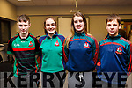 Attending the Scor na nÓg Kerry County Quiz finals in the Austin Stack Park Pavilion, Tralee on Thursday evening last and representing Kilcummin. L-r, Con Flemming, Debhinn Brosnan, Liadain O'Connor and Michael Sweeney.