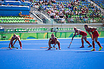 USA penalty corner battery during USA vs Germany in a women's quarterfinal game at the Rio 2016 Olympics at the Olympic Hockey Centre in Rio de Janeiro, Brazil.